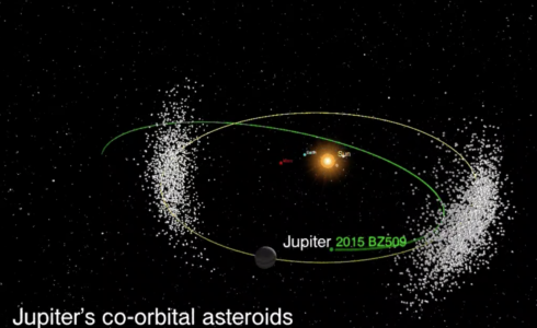 Asteroid Bee-Zed travels clockwise, while Jupiter and its Trojan asteroids orbit the other direction. Credit: Western University, Athabaska University, Large Binocular Telescope Observatory